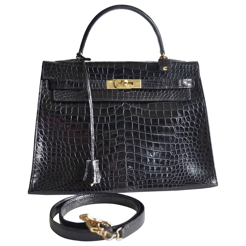 84fe33ef50 Hermes Kelly 32 Black Crocodile